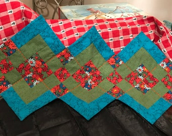 9-Patch Quilted Table Runner - Blue, Green, Floral -- Reversible