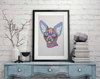Modern cat cross stitch pattern,geometric folk art cross stitch pattern cat, ornament cross stitch, Egypt cat pattern PDF,  Oriental cat