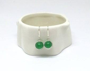 Jade earrings, 925 sterling silver jade earrings, green jade earrings, jade jewellery, medium green jade jewelry, silver jade earrings