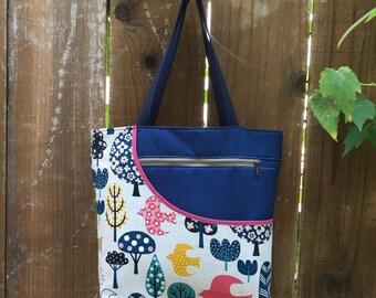 Colorful Trees and Birds Tote Bag – Handmade Japanese Fabric Market Shopping Overnight Travel Carryall Purse Handbag Travel Shoulder Bag