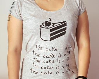 Portal Handpainted Shirt The Cake is a Lie Companion Cube Woman Man Gaming T-Shirt Aperture Science