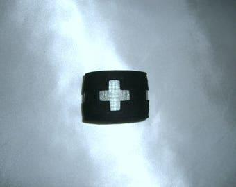 Bracelet black leather bracelet wrist strap nubuck leather purse bracelet women stock