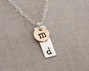 Monogram Bar Necklace Hand Stamped, Initials Dainty Necklace for Women, Personalized Delicate Jewelry Necklace