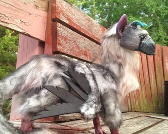 Trico • The Last Guardian • OOAK Handmade Art Doll (Faux Fur/Glows in Dark)
