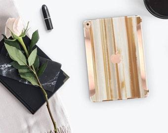 "Agata Venata Marble iPad Case and Rose Gold Detailing iPad Pro 9.7 / iPad Pro 10.5"" Smart Keyboard compatible Hard Case - Platinum Edition"