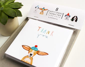 Thank you cards - Pack of 8 Dog Thank You cards - Dog thank you cards - card packs - gratitude cards - Katy Pillinger Designs - 8 card pack