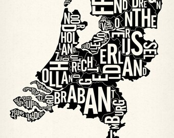 """NEDERLAND and its 12 Provinces — 19x25"""" Map Poster — Screen Print"""