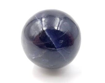 """Unique Iolite Color Changing Sphere - 0.79"""" 20mm - Pleochroic Indigo Blue Water Wapphire Crystal Ball - Shifts Color From Blue to Orange"""