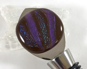 bottle stopper in stainless steel, brown, lavender and blue dichroic fused glass