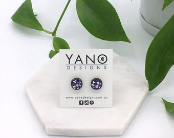 Hand painted 10mm round glitter bamboo stud earrings (with hypoallergenic surgical steel posts & backings)