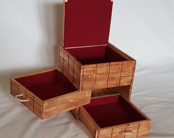Wooden Jewelry Box with Drawers