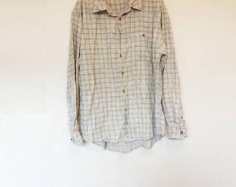 Plaid Corduroy Shirt Vintage Cord Button Down Shirt White Plaid Vintage Corduroy Button Up Shirt Men's XXL Cord Shirt Vintage White Check