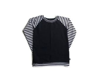 Cardigan women sweater collar round Longsleeve, sweatshirt, Navy, striped White navy / Women's sweatshirt crewneck, classic navy