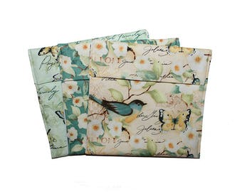 Adult Snack Bags, Fold Top Baggies, Birds Butterflies, Reusable Snack Bags, Dogwood Print, Zero Waste, Washable Snack Bags, Sandwich Bag Set