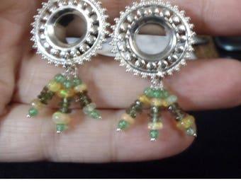 "Moldavite, Ethiopian Opal, Jade Tunnels Plugs size 2g-5/8"""