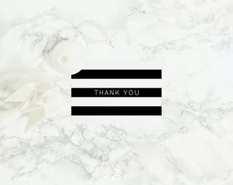 Black and White Stripe Printable Thank You Card - Wedding Thank You Note - Baby Shower Thank You - Greeting Card - Minimalist Design