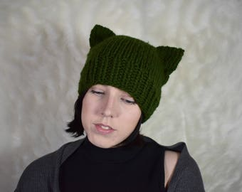 Cat ears hat Knit cat beanie hat Cat ear hat Knit cat hat with cat ears Cat ear beanie Knitted cat hat Cat ears Neko ears