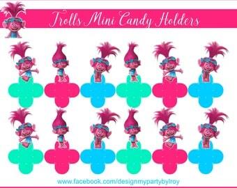 150 TROLLS, TROLLS MiniTreat Holders, Trolls  Mini Candy Holders, Trolls Chocolate Holders, Trolls Favors, Trolls Caixas, Trolls Forminhas.