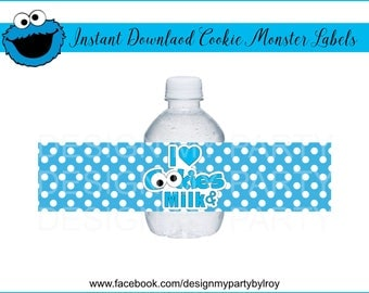 COOKIE MONSTER LABELS,Instant Download Cookie Monster Jar Labels,Cookie Monster Party Supplies,Cookie Monster Paper Supplies,Cookie Monster.