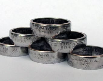 State Quarter Coin Ring, Choose Your State, Unique Ring, Coin Jewelry, Mens, Band, Rings, Gift, Coin Art