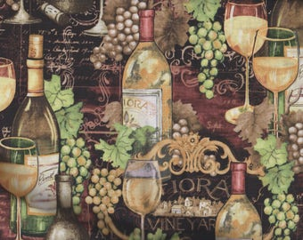 BTY Susan Winget REGAL WINE - Taste of the Vine Print 100% Cotton Quilt Craft Fabric by the Yard