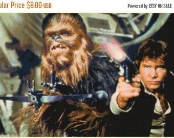 Chewie and Han Solo Cross Stitch Pattern Pdf star wars pattern cross stitch - 276 x 172 stitches - Instant Download - B1258