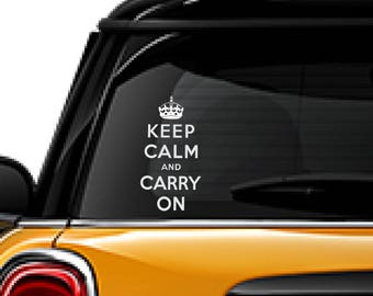 Keep Calm and Carry On decal, FREE SHIPPING, White vinyl decal, #keepcalm, home decor, car sticker, car decal