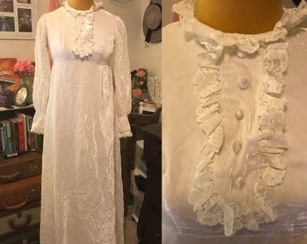 1970's Velvet Wedding Dress || white velvet, lace, button detail empire waist gown