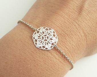Sterling Silver Mandala Bracelet, Dainty Bracelet, Simple 24K Gold Vermeil Bracelet, Minimalist Bracelet, 925 Sterling Silver Jewelry