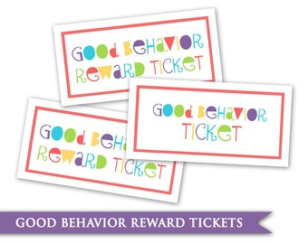 Kids Behavior Tickets- Printable Digital PDF Reward System Ticket Card Goal Chart Children Child Classroom Teacher Helps Homeschool Chore