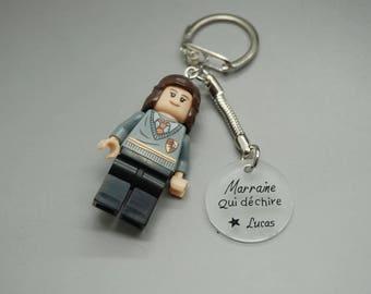 """porte clé Lego Harry Potter cabochon """"Marraine qui déchire"""" avec prénom personnalisable"""