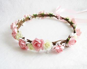Wedding Floral Crown, Blush Pink Flower Headband, Floral Head Wreath, Ivory Wedding Headband, Bridesmaid Floral Crown, Flower Girls Headband