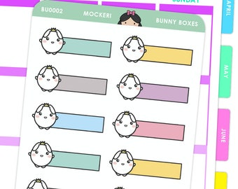 Bunny Horizontal Boxes / Planner Stickers