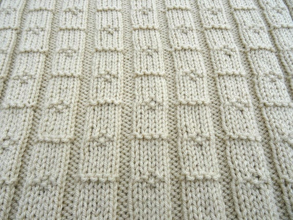 Easy Knitting Pattern Chunky Baby Blanket Diamond Lines