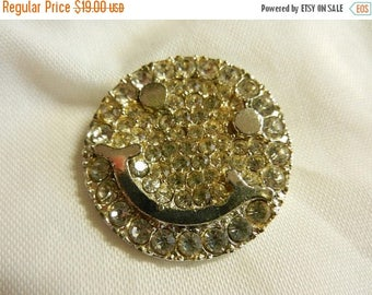 Summer Sale Vintage Costume Jewelry Smiley face Brooch Pin