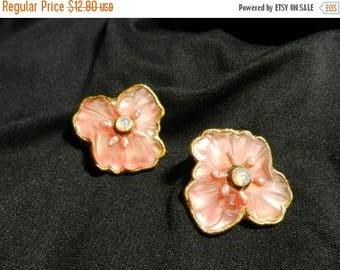 Summer Sale Vintage Original Costume Jewelry Pink Flower Earrings Clip On