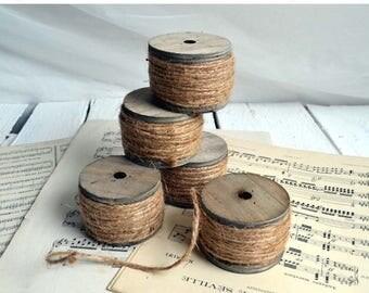 25% SALE Rustic String on Chunky Wooden Bobbin 20 Meters of Twine