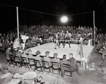 Boxing Match, 1919. Vintage Photo Reproduction Poster Print. Black & White Photograph. Boxers, Sports, Athletes, Army, WWI, 1910s.