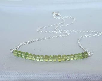 Peridot necklace - gemstone necklace - Bar necklace - August birthstone - gift for her - birthstone jewellery - natural crystal jewelry