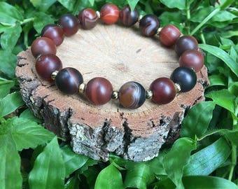 Dorothy Bracelet- Dark Red Striped Agate(10mm) Bracelets- gemstone bracelet- boho beaded bracelet- oliver grey jewelry