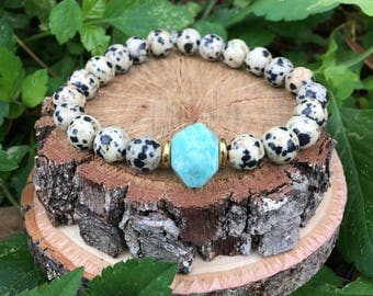 Amazonite & Dalmatian Jasper(8mm) -Beaded Bracelet - Gemstone Bracelet- Oliver Grey Jewelry - Gemstone Bracelet - Earthy Jewelry