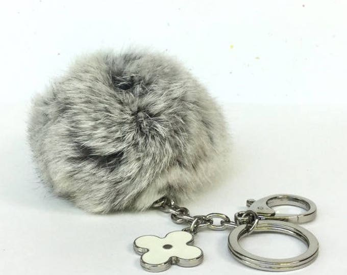 "Limited Edition ""very light grey"" Rabbit fur pom pom keychain or bag pendant with flower keychain silver edition"