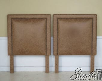 29034E: Pair Custom Made Twin Size Leather Bed Headboards