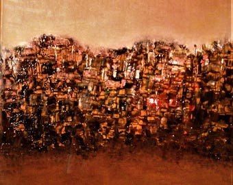 "Original Abstract Oil Painting by Nalan Laluk: ""City on the Hill"""