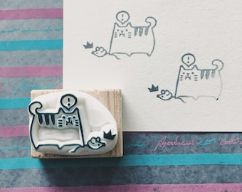 cat and mouse hand carved rubber stamp.cat rubber stamp.pet stamp.
