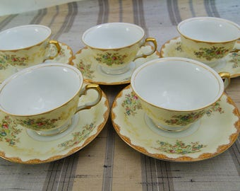 5 Vintage Meito China Dalton Hand Painted Floral Cup Saucer Sets F & B Japan