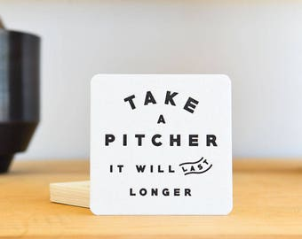 Take A Pitcher Letterpress Coaster Set