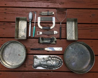 Vintage Kitchen Stuff: Dazey Can Opener, Utensils, Baking Pans, Farmhouse Country Kitchen Decor Rustic Kitchen