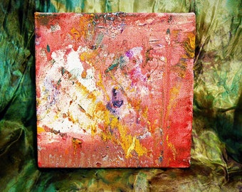 "Acrylic Abstract Landscape Painting on small cradled canvas, ""HEAT WAVE"" by Stacey Torres"