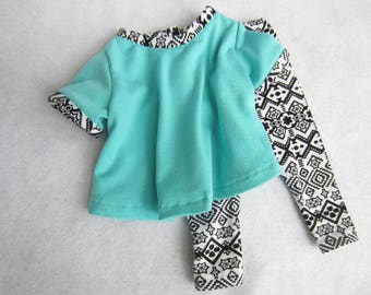 18 inch doll clothes, turquoise knit doll top, black/white stretch pants,knit doll pants 18 in doll outfit, doll blouse,turquoise doll shirt
